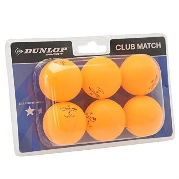 Dunlop Unisex Club Match Table Tennis Balls 6 Pack Orange One Size by Dunlop by Dunlop