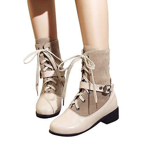 AgrinTol Women's Leisure Buckle Flat Thick Heel Shoes Solid Color Short Tube Martin Boots