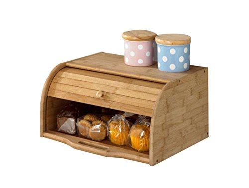 Betwoo Natural Wooden Roll Top Bread Box Kitchen Food Storage (Standard Size Bamboo) ()