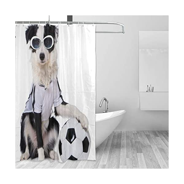 Top Carpenter Border Collie in Soccer Outfit Bath Shower Curtain Liners - 72x72in - 100% Polyester - Waterproof with C-Shaped Curtain Hook Modern Bathroom Decoration 1 Panel 2