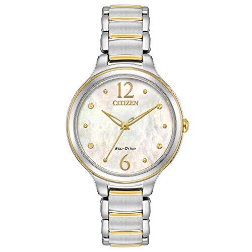 Ladies Two Tone Quartz Watch (Citizen Women's 'Eco-Drive' Quartz Stainless Steel Casual Watch, Color:Two Tone (Model: EM0554-58N))