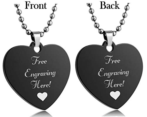 Interway Trading Personalized Regular Size Custom Message Engraved Stainless Steel Necklace Dog Tag Pendant with 24 inch Chain,Velvet Giftpouch and Keyring (Heart Black)