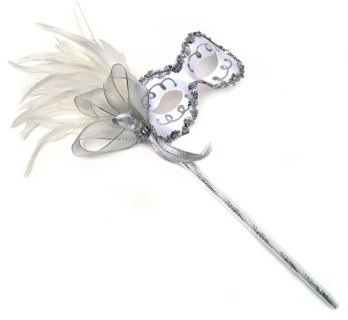 Diva White Women's Masquerade Mask on a (Stick On Masquerade Masks)