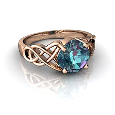 14kt Gold Lab Alexandrite 6mm Cushion Celtic Knot Ring