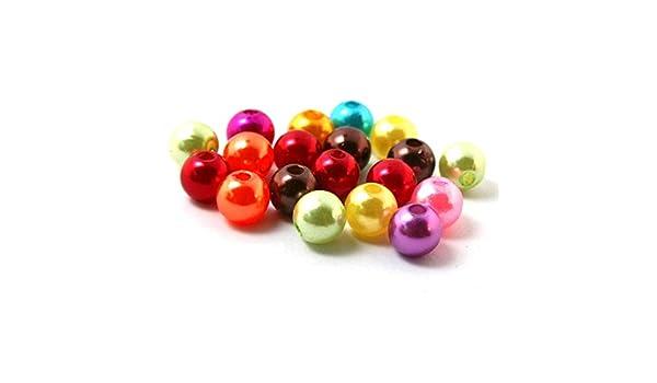 300 PCs Mixed Pearl Imitation Round Beads 8mm Dia.