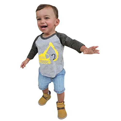 LNGRY Baby Clothes,Toddler Infant Boys 2Pcs Fall Tank Car Letter Tops+Denim Shorts Outfits Clothing (12-18 Months, Gray)