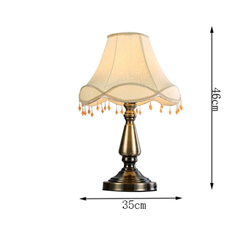HUACANG European Luxury Metal LED Table lamp, Retro Simple Bedroom Bedside Living Room Cloth Art E27 Decorative Lights (Two-Color Optional) (Color : A1) by HUACANG (Image #2)