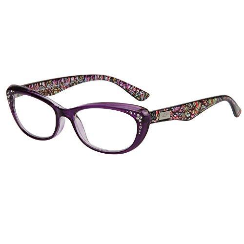 LianSan womens designer wayfarer compact cat eye retro fashion reading glasses 1.0 1.25 1 .5 1.75 2 00 2.25 2.50 2.75 3.0 3.25 3.5 4.0 L3705 purple - Reading Glasses Amazon Tinted