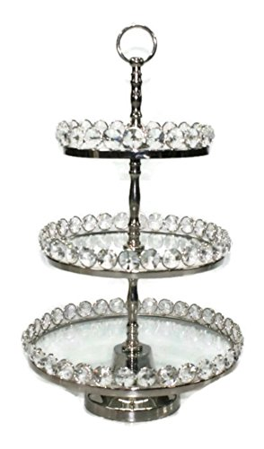 Elegance Three-Tier Glass & Nickel Plated Stand with Detachable Crystal Border by Elegance (Image #1)