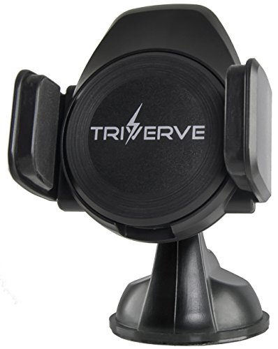 Triverve Qi Wireless Car Charger & Phone Holder - High Speed Charging (5V-2A), One Hand Operation with Non-Slip Auto-Grip, 360 Degree Viewing Angle - Strong Suction Cup for flat & smooth surfaces