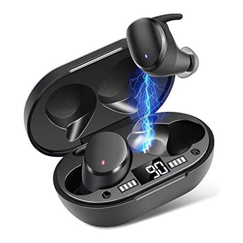 chollos oferta descuentos barato Auriculares Inalámbricos Moosen Auriculares Bluetooth 5 0 IPX7 Impermeable Mini Portátil Caja de Carga HI FI Estéreo Control Tactil cancelación de Ruido Control táctil para Correr Deporte