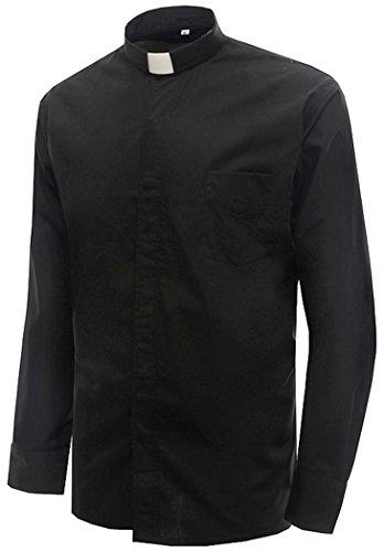 Tab Collar Shirts (IvyRobes Mens Tab-Collar Long Sleeves Clergy Shirt Black (Necksize 15.5
