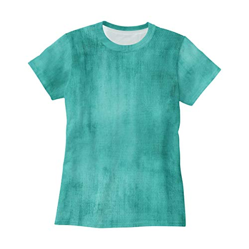 - Bei Tang Turquoise Color T Shirts for Women Top Tee Crew Neck Cotton Tshirts