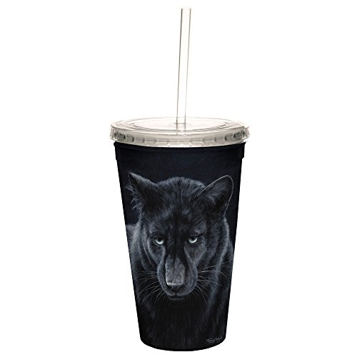 Tree-Free Greetings CC35698 Cool Cups, Double-Walled Pba Free with Straw and Lid Travel Insulated Tumbler, 16 Ounces, Black Panther by Tree-Free Greetings