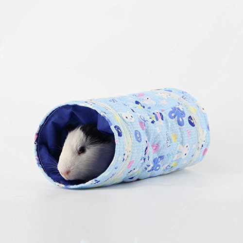 Hiding Hut (S-Lifeeling 1Pc Cute Spring&Autume Small Pet Animal Tunnel Tube Toy, Cloth Hideout Bed House Playing Hut for Hamster/Gerbil Rat/Guinea Pig/Chinchilla/Squirrel, Beige)