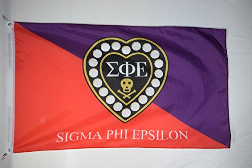 Apedes Sigma Phi Epsilon Premium Licensed Flag 3x5 Feet for Home, Business, Basement, Garage. Durable 100% Polyester, Metal Grommets for Hanging, Printed on Demand