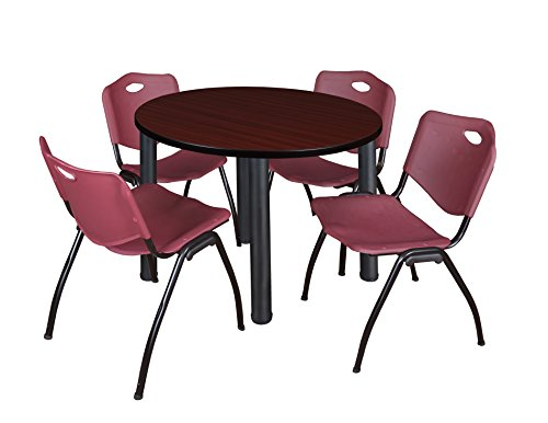 """Kee 36"""" Round Breakroom Table- Mahogany/ Black & 4 'M' Stack Chairs- Burgundy"""