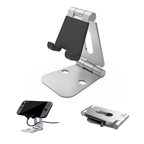 TUTUO Dual Foldable Stand, Holder for Nintendo Switch, Multi-Angle Cell Phone Tablet Video Game Playstand for Galaxy S8, Kindle, iPad 2017 Pro 9.7, 10.5, Nexus, other Tablets-Sliver