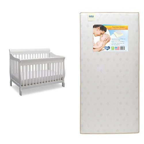 Delta Children Canton 4-in-1 Convertible Crib, Bianca (White) with Twinkle Stars Crib & Toddler Mattress