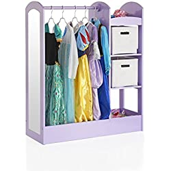 Guidecraft See and Store Dress-up Center – Lavender: Pretend Play Storage Closet with Mirror & Shelves, Armoire for Kids with Bottom Tray - Costume Storage Dresser