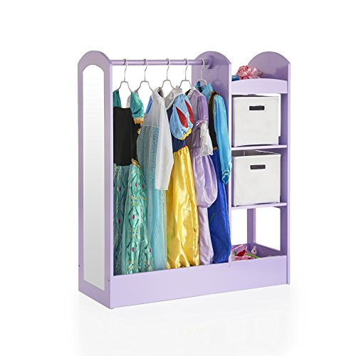 Guidecraft See and Store Dress-up Center - Lavender: Pretend Play Storage Closet with Mirror & Shelves, Armoire for Kids with Bottom Tray - Costume Storage - Hat Princess Lavender