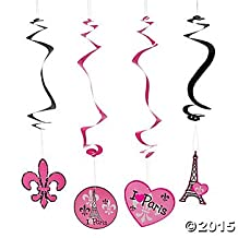 Pink Paris Party Hanging Swirl Decorations - 12 ct