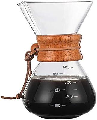 WANGSUN Cafetera de vidrio de borosilicato manual de riego por ...