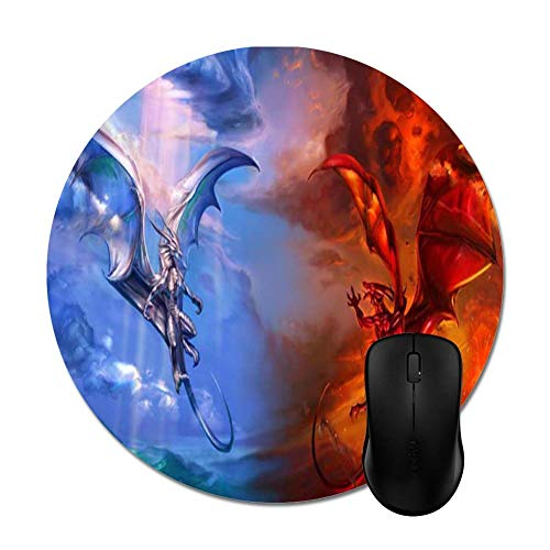 """Dragons Ice and Fireon Black Mouse Pads - Stylish Office Accessories 8""""(Round) from Julyou"""