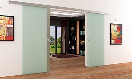 Completo-satinado doble-palas-puertas correderas de cristal ...