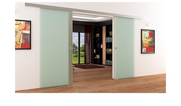 Completo-satinado doble-palas-puertas correderas de cristal-sistema | Concha de mango | Almacenamiento de productos | 2 piezas 775 x 2050 x 8 mm a partir de las marcas de fabricante LEVIDOR de Alemania.
