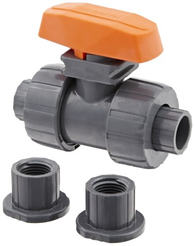 Hayward TB1050ST Series TB True Union Ball Valve, Socket/Threaded End, PVC with FPM Seals, 1/2