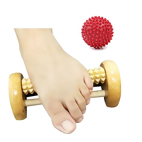 Foot Massager Roller for Foot Pain Relief,Massage Ball Roller for Arch Pain and Relax Shoulder,Plantar Fasciitis Remedy, Heel Spurs Reliever,Included 1 Spiky Balls&1 Wooden Roller – DiZiSports Store