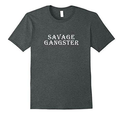Mens Savage Gangster Shirt - Gangsta Killer Costume Outfit Medium Dark Heather (Gangster Outfits For Men)
