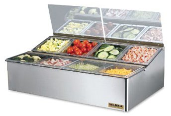 San Jamar FP9248FL EZ-Chill Stainless Steel Food Prep Center, 25-1/4'' Width x 8'' Height x 16-1/2'' Depth