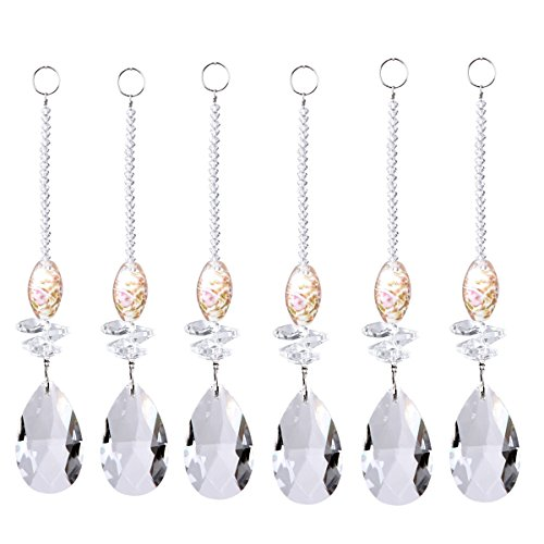 Longsheng Chandelier Suncatcher Crystal Drops Prisms Teardrop Pendants Octogon Beads for Gifts,Car,Plant,Window Decor,Set of 6 with Free Ribbon