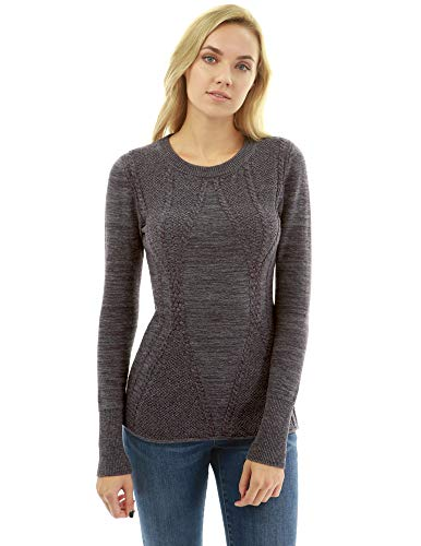 tton Blend Crewneck Cable Knit Sweater (Heather Dark Purple Large) ()