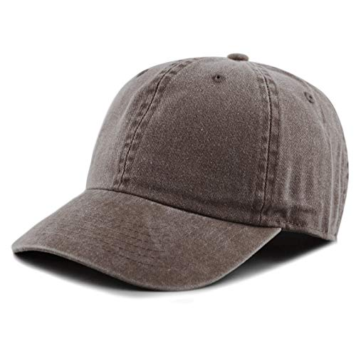 otton Pigment Dyed Low Profile Six Panel Cap Hat (Brown) ()