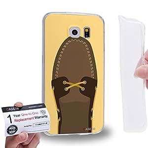 Case88 [Samsung Galaxy S6] Gel TPU Carcasa/Funda & Tarjeta de garantía - Art Hand Drawing Brown Boat Shoe 2095