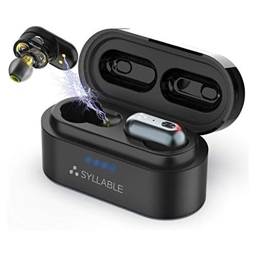 chollos oferta descuentos barato Auriculares Bluetooth Syllable S101 Auriculares Inalámbricos Bluetooth 5 0 Estéreo In Ear Cascos Mini Twins 4 Ponentes Carga Rápida IPX6 Impermeable con Caja de Carga Portátil para iPhone y Android