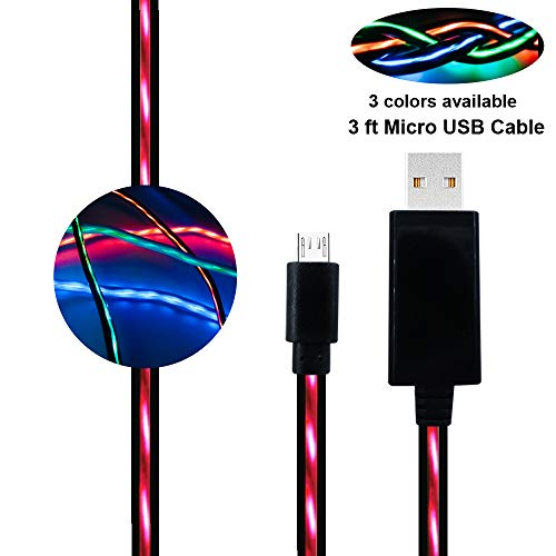 Micro USB Cable, BUSOH Light Up Charging Cable [3ft/0.9 M] Flowing Led Light Flash Glowing Charge and Sync Data Cord EL Flat Charging Wire Compatible for Galaxy S7/S7 Edge/Moto G5/PS4, Black and Red