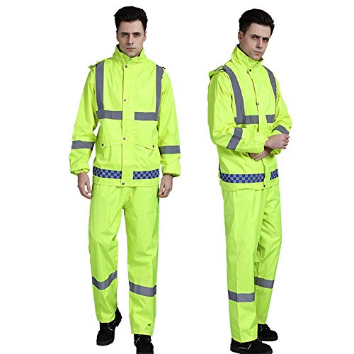 XUHAN High Visibility Reflective Waterproof Rain suit Jacket Working Clothes Motorcycle Cycling Sports Outdoor Reflective Safety Clothing with pants (3XL) ()