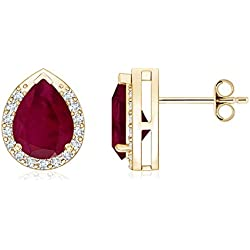 July Birthstone - Diamond Halo Pear Shaped Natural Ruby Stud Earrings for Women