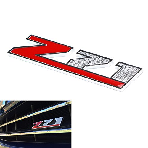 (1) Red Z-71 Front Badge Emblem w/Grille Mount Insert Bracket For Chevrolet Avalanche Silverado Colorado Tahoe Suburban, etc