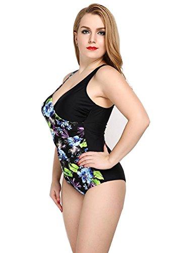 HZZ Piece Las mujeres del traje de baño del traje de baño floral Una Deportes traje de natación ropa de playa 2