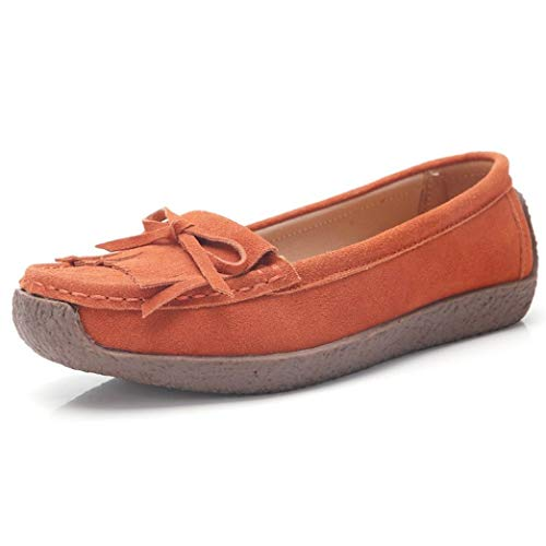 Womens Slip-on Loafers Casual Round Toe Bowknot Fringe Moccasins Walking Driving Flat Suede Shoes Orange