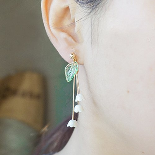 Jaese and Korean fashion jewelry ear earrings exquisite lily of the valley flowers earrings bells pierced earrings without ear clip optional
