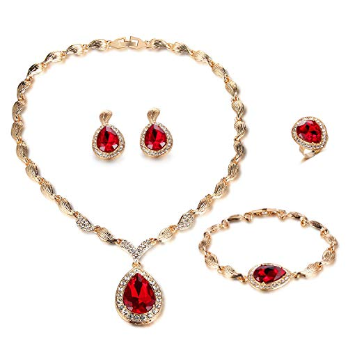 FAUOI African Teardrop Red Crystal Jewelry Sets Women Bridal Gold Plated Statement Necklace Earrings Jewelry Sets for Women Costume,4 Pairs