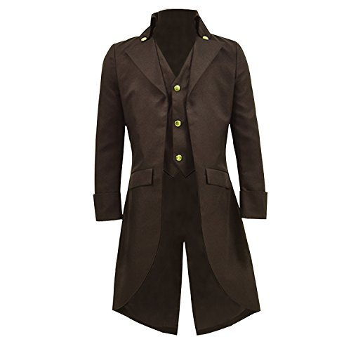 COSSKY Boys Gothic Tailcoat Jacket Steampunk Long Coat Halloween Costume (Khaki, 14)]()