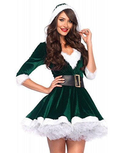 Leg Avenue 85356 Mrs Claus Velvet Hooded Dress With Belt - Green/White - Small/Medium (Leg Avenue Velvet)