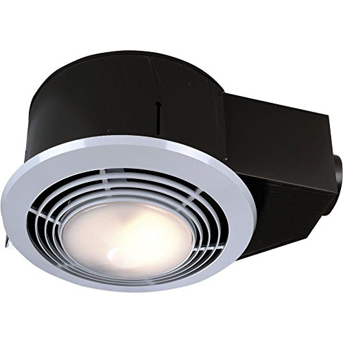 NuTone QT9093WH Combination Fan/Heater/Light/Night Light, 110 CFM 4.0 Sones with 4-Inch Duct Connector (Deluxe Fan Quiet Exhaust)